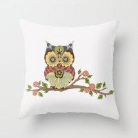 OWL -  kids wall art - owl theme nursery - woodland Throw Pillow