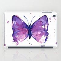 Butterfly Purple Watercolor iPad Case
