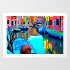 Colors In Venice - Painting Style Art Print