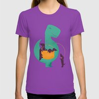T-Rex and his Basketful of Wiener Dogs Womens Fitted Tee Ultraviolet SMALL