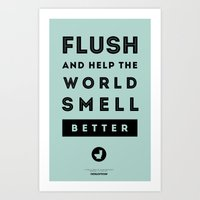 Flush and Make the World Smell Better (Blue) Art Print