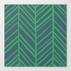 Painted Herringbone - in Emerald Canvas Print