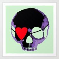 Purple Skull With Heart … Art Print