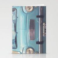 Mint - Blue Retro Fiat C… Stationery Cards
