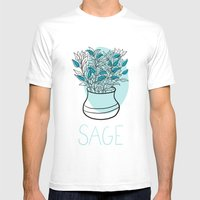Sage Mens Fitted Tee White SMALL