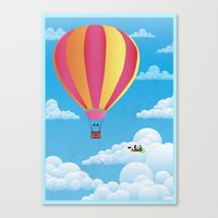 Picnic In A Balloon On A… Canvas Print