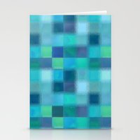 Blue Squared Stationery Cards