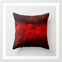 Dark Red Throw Pillow Art Print