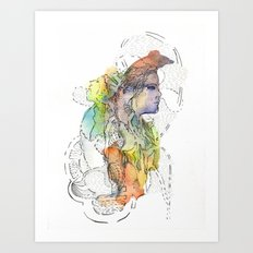 Abstract Portrait Illustration Watercolor Painting  Art Print