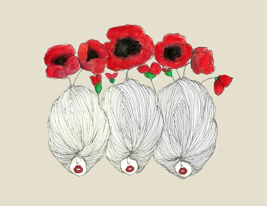 Poppy Girls Art Print