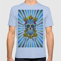 Sugar skull- Day of the dead- blue Mens Fitted Tee Athletic Blue SMALL