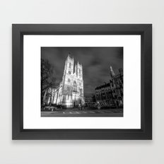 Cathedral by Night - black and white Framed Art Print