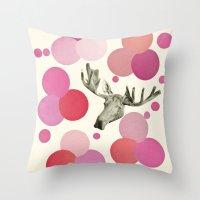 Strawberry Moose Throw Pillow