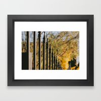 Iron Fence, Yellow Leave… Framed Art Print