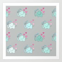 Elephant Love Walk Gray Art Print