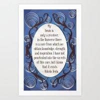 Nikola Tesla quote, Inspirational poster quilled border Art Print