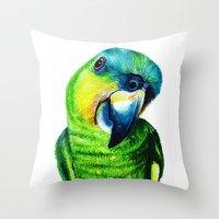 Throw Pillows featuring Parrot Bird by Maxvtis