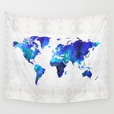 World Map 17 - Blue Art By Sharon Cummings Wall Tapestry