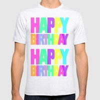 Happy Birthday Mens Fitted Tee Ash Grey SMALL