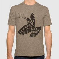 No Border No Migra Mens Fitted Tee Tri-Coffee SMALL
