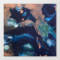 Color Commentary #14: Patina (Blue & Copper, Painter's Choice) [Debi Vaught-Thelin] Canvas Print