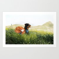 Girl and her dog Art Print