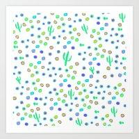Bright cactus pattern Art Print