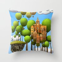 New City In The Sky Throw Pillow