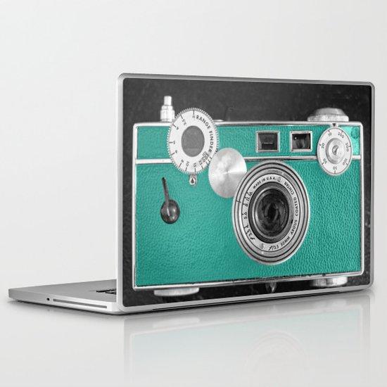 Teal retro vintage phone Laptop & iPad Skin