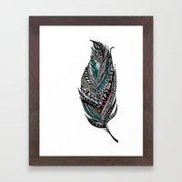 Single Aztec Feather  Framed Art Print