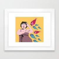 Pez Koi Ataque Framed Art Print