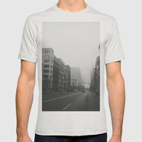 Woodward & John R...& Clifford - Detroit, MI Mens Fitted Tee Silver SMALL