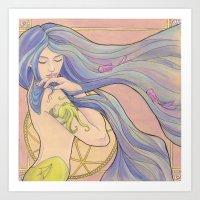 Tattooed Mermaid 1 Art Print