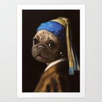 pug with a pearl earring Art Print