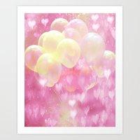 Balloons Pink and Yellow Art Print