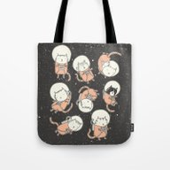 Tote Bag featuring Cat-Stronauts by Drew Brockington