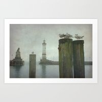 Lindau harbour Art Print