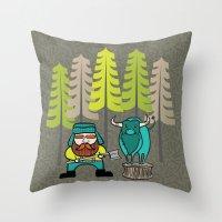 Lumberjack & Blue Ox Throw Pillow