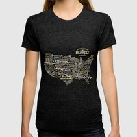 UNITE STATES OF BEARDLY - BLACK Womens Fitted Tee Tri-Black SMALL