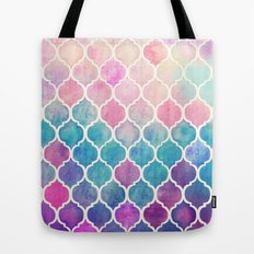 Rainbow Pastel Watercolor Moroccan Pattern Tote Bag