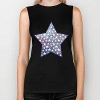 White stars on bold grunge blue background Biker Tank