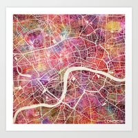 london Art Prints featuring London  by MapMapMaps.Watercolors