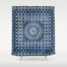 Old Bookshop Magic Mandala in Blue Shower Curtain