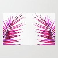 pink palm leaf II Rug
