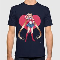 Pretty Soldier Sailor Moon 2013 Mens Fitted Tee Navy SMALL