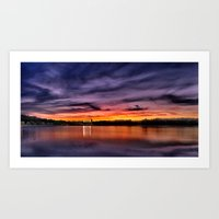 Sun dusk over Boston College Art Print