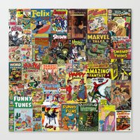 Comic Book Cover Collage Canvas Print