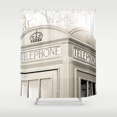 London telephone booth Shower Curtain