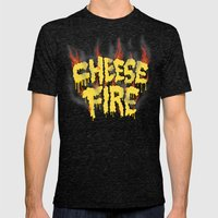 CHEESE FIRE!!! Mens Fitted Tee Tri-Black SMALL
