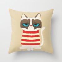 Grumpy meme cat  Throw Pillow